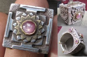 pink star sapphire mandala ring by sunpedro