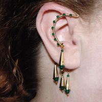 Emerald and Gold Ear Wrap v3- SOLD by YouniquelyChic