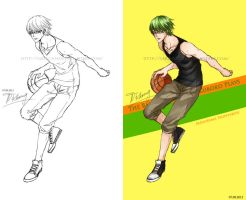 KnB Assignment - Midorima Playing Basketball by saru-chikin
