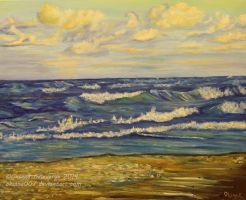 Little bit stormy sea sunset-Timelapsed  painting by Oksana007