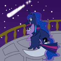 Princess Luna and Twilight Sparkle Cuddling (1) by 90Sigma