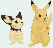 Pichu and Pikachu by RacieB