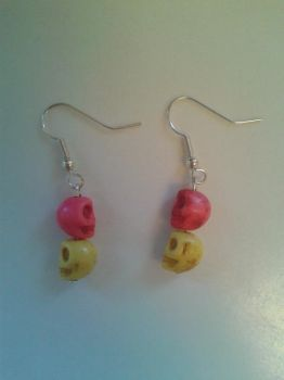 Pink and Yellow Skull Earrings by Capsha