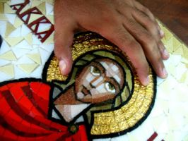 coptic icon mosaic-saint Mina(details) by MinaNashed