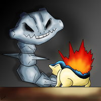 Cyndaquil vs Steelix by Jero-Draw