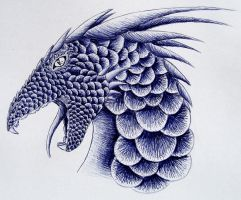 Scaled Dragon - ballpen sketch III ^^ by LonlyAntelope