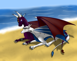 Dragons On Beach (commision) by Tomek1000