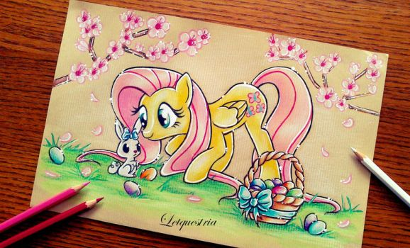 Fluttershy and her Easter rabbit by LtiaChan