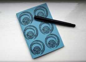 Softcover notebook - Black Snitches on Sky Blue by lazylinepainterjane