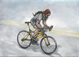 Speed Cycling Watercolor by AlexanderCrW