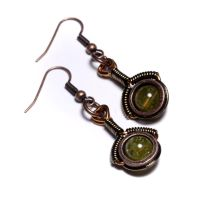 steampunk earrings Garnet by CatherinetteRings