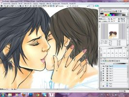 Alec y Magnus Kiss process by xiannustudio