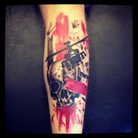 Skull and helicopter tattoo by DaneTattoo