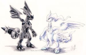 Reshiram vs. Zekrom by Sysirauta