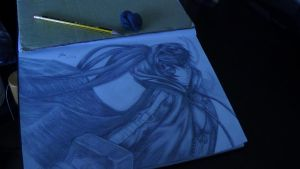Black Rock Shooter drawing by Xezn