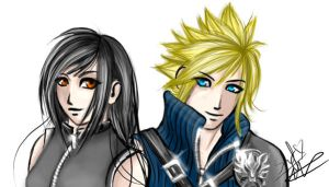 Cloud and Tifa by DarkLitria