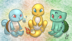 Kanto Starters by theamazingwrabbit