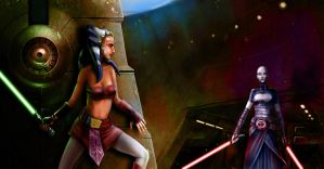 Ashoka and Ventress by LordaGoran