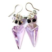 Violet Triangle Crystal Cluster Earrings by lulabug