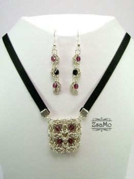 Purple-Black Chainmaille Set by Zsamo