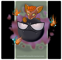 Pokemon: Gastly and Vulpix by WeisseEdelweiss