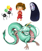 Spirited Away Sticker Set by curry23