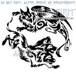 Gryphon And Cerberus Tribal Design by WildSpiritWolf