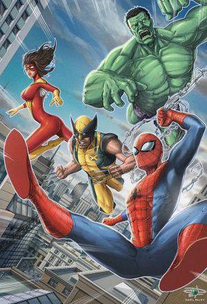 Spidey/ Marvel Pinup - Version 2.0 by Carl-Riley-Art