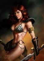 Red Sonja - Portohle colored version by SpiderGuile
