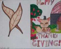 Cute kitty Thanks Giving Card by LunaStarLight15