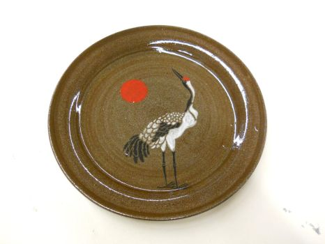 Red Crested Crane Plate by Halfling-J