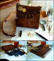 Steampunk Leather Pouch VI by izasartshop