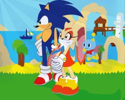 Sonic And Cream at Wave Ocean (Sonic 2006) by PlanetWisp
