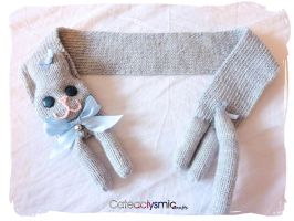 Grey Kitty Cat Scarf with Blue Bows by Cateaclysmic