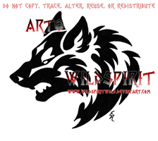 Aggressive Wolf Head Tribal by WildSpiritWolf