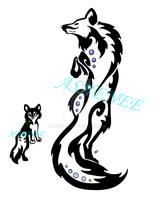Momma Wolf And Baby Wolf Tattoo Tribal by Ashenee