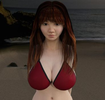 Yoko Matsugane on the beach by redsommers