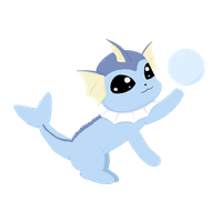 Chibi Vaporeon Loves Bubbles by Poppun