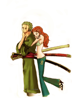 Zoro and Nami 2YL by Scarlett-pants