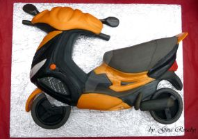 Motor Scooter Cake by ginas-cakes
