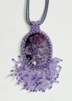 Charming charoite beaded pendant - delicate and be by YANKA-arts-n-crafts