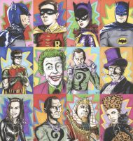 Batman '66 Sketch Cards by tedwoodsart