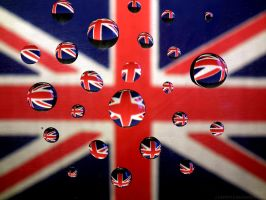Water Drops - UK Flag by c1a2t345