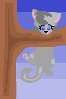 Dovewing trying to climb a tree by Larkflame