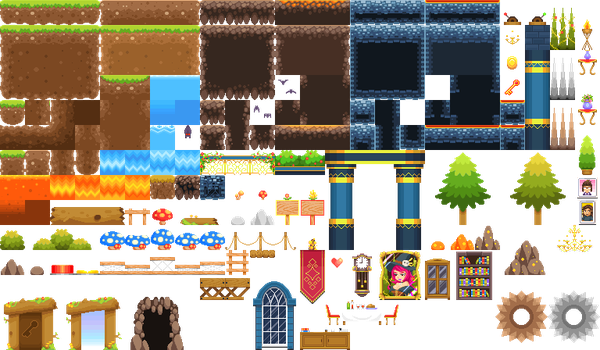 Simple platformer tileset by KucingBudhug