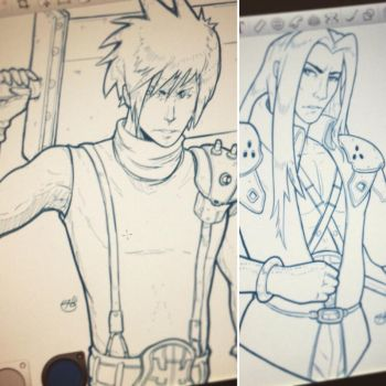 Cloud vs Sephiroth Sketches by EzJedi