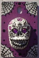 Sugar Skull art pendant Violet by Myrcury-Art