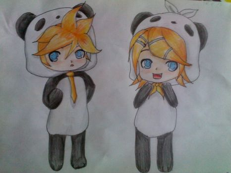 Len and Rin Panda ~ by MsRenky