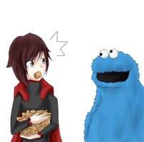 Ruby and the cookie monster by Babero