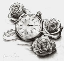 Timepiece and Roses - Desaturated by t-o-n-e